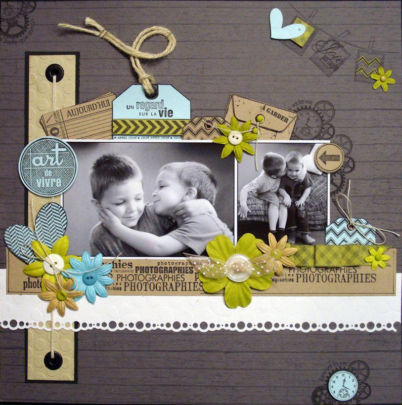 cr ations avec la collection 13 floril ges design meryscrap layouts pinterest scrapbook. Black Bedroom Furniture Sets. Home Design Ideas