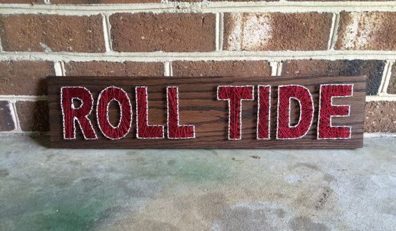 Charming Alabama Roll Tide Sports Team Man Cave Wall Art String Art Wood Sign Home  Decor MADE TO ORDER