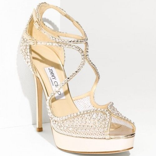 Jimmy Choo Bridal Shoes Sale Buy Discount Authentic Jimmy Choo Crystal Embellished Mesh Sandals Gold F Jimmy Choo Wedding Shoes Jimmy Choo Sandals Bling Shoes