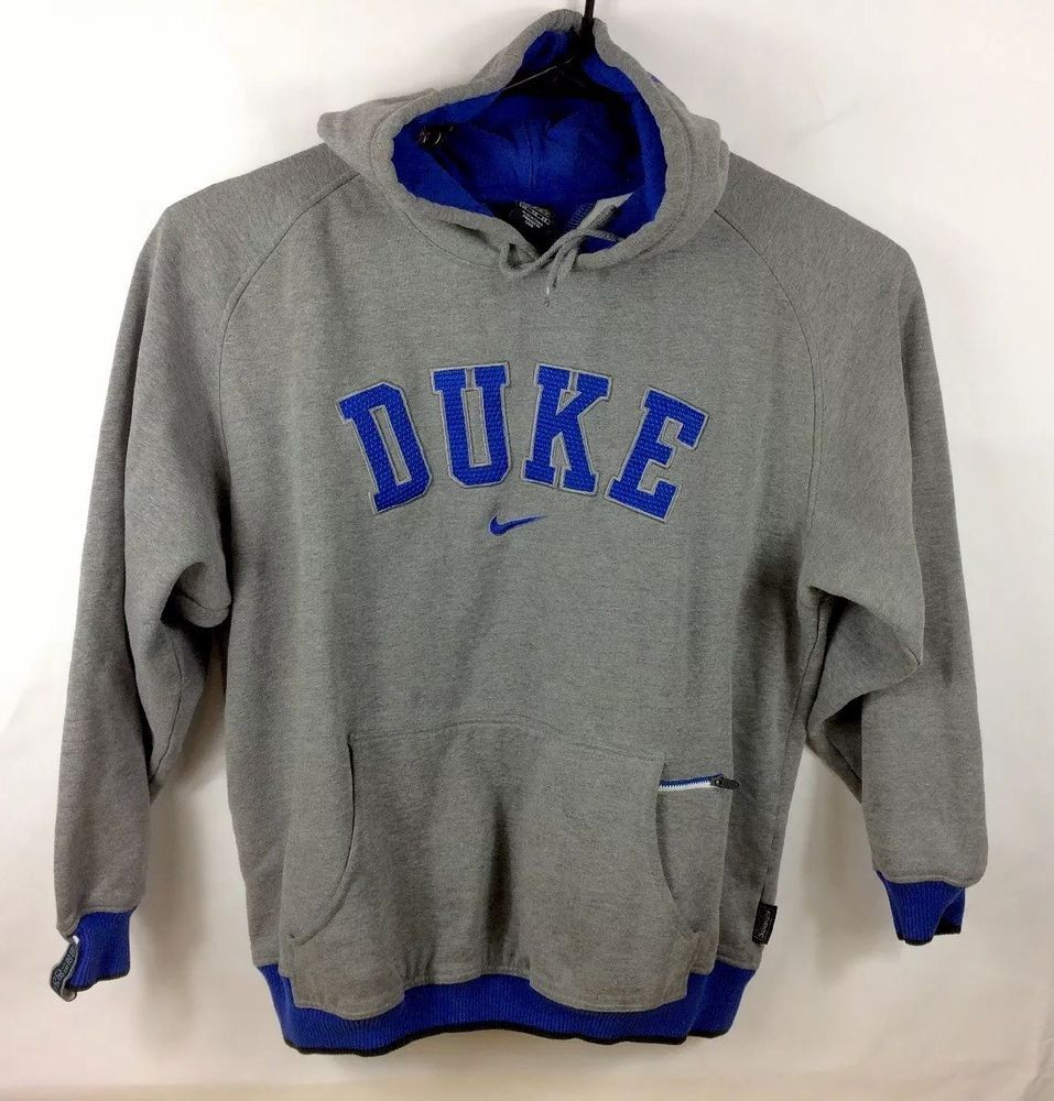 9166bf00 NIKE ELITE DUKE BLUE DEVILS WARM UP BASKETBALL HOODIE Sweater Mens XL Gray  USED   eBay