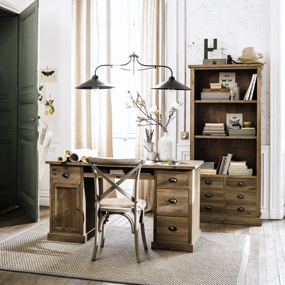 Bureau Style Campagne Meuble En Bois Plan De Travail Secretaire Table Accessoires De Interieur Maison De Campagne Sapin Maison Du Monde Mobilier De Salon