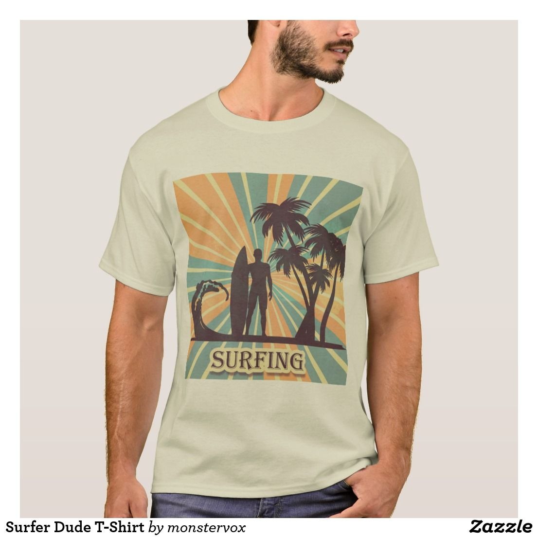 Surfer Dude T Shirt Zazzle Com In 2021 T Shirt Surfer Dude Shirts