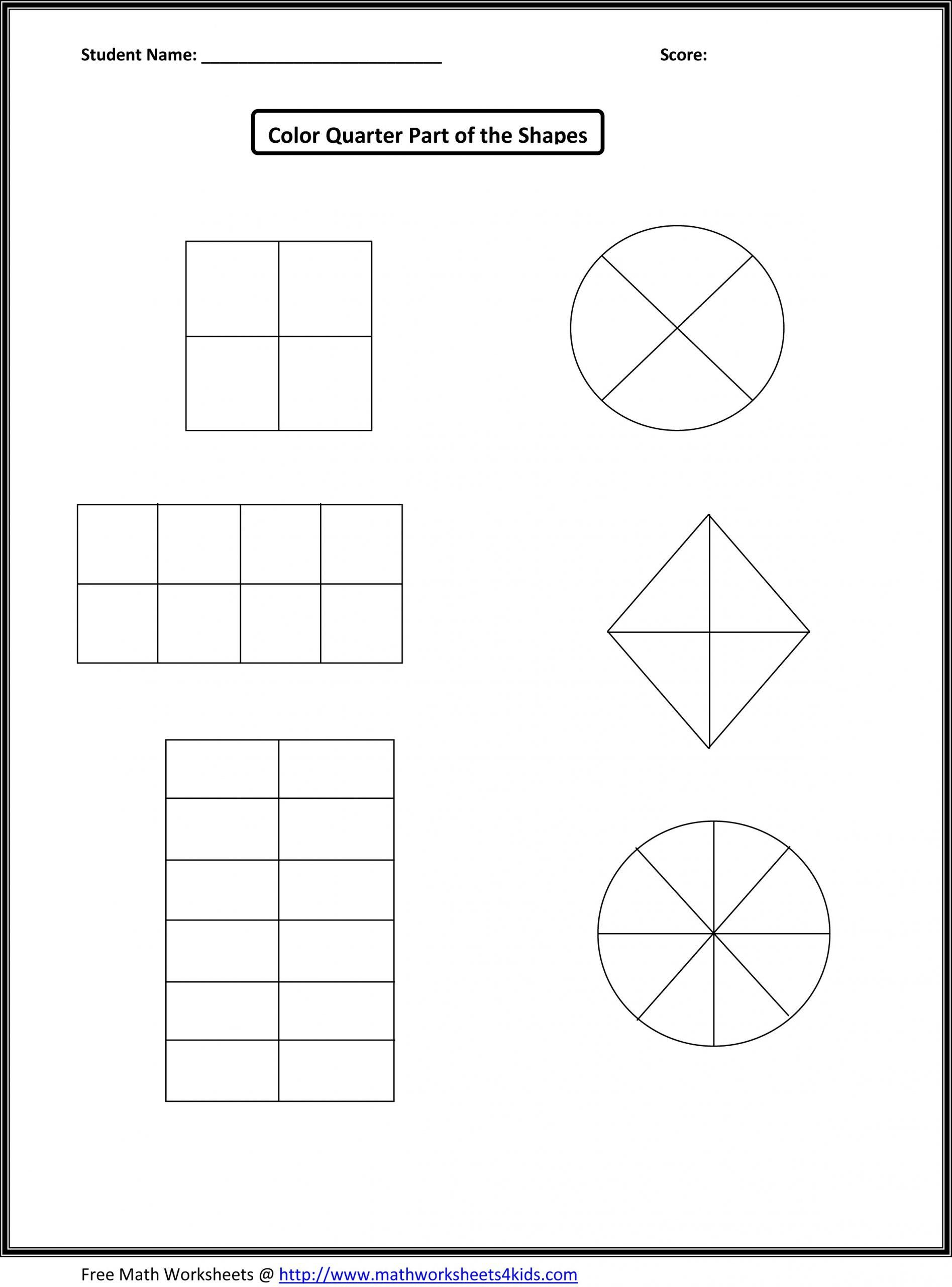 First Grade Fractions Worksheets A1 Wk 7 8 Halves And