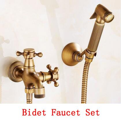Bathroom Wall Mounted Bidet Faucet Set Antique Brass Handheld Bidet Spray Shower Set Copper Toilet Flushing Device Suit Vintag Bidet Faucets Bidet Bidet Spray