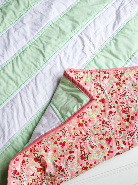 Mint Paisely Stripe Baby Quilt Pink Coral Mint stripe by SewEMG