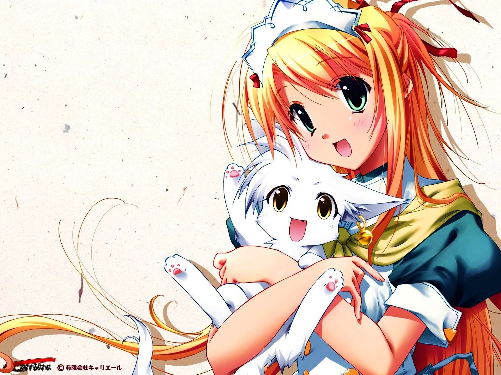 red haired anime girl with white cat | Anime Girls | Pinterest