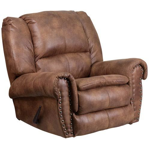 Photo of Parkside Contemporary, Breathable Comfort Padre Almond Fabric Rocker Recliner w/ Brass Accent Nails in Brown, Transitional | Bellacor