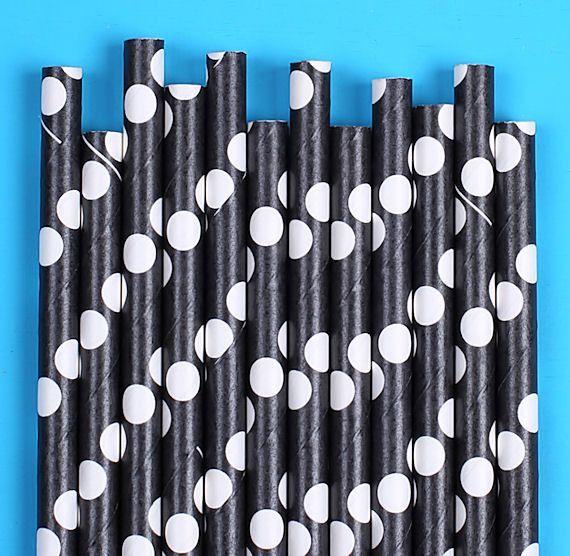 Solid Black Polka Dot Paper Straws