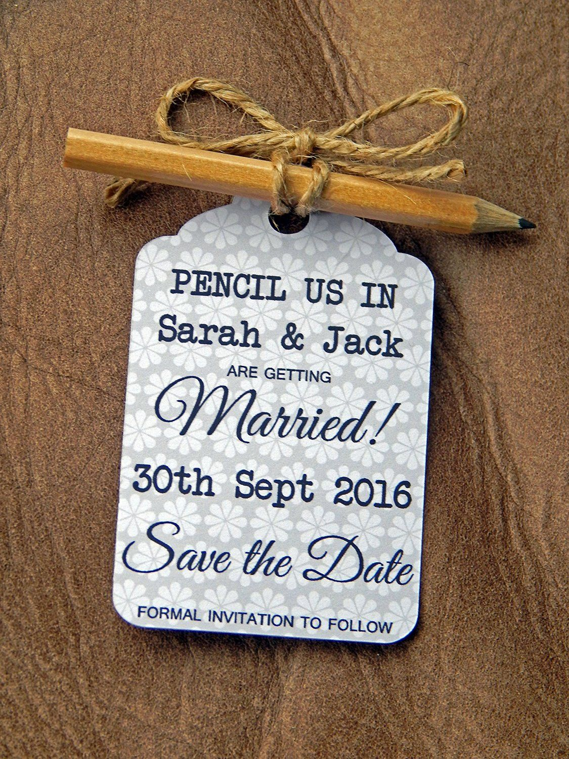 10 pencil us in save the date getting married wedding reminder cards 10 pencil us in save the date getting married wedding reminder cards with envelopes grey personalised with the stopboris Image collections