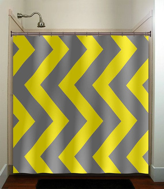 extra large vertical yellow gray chevron shower curtain bathroom