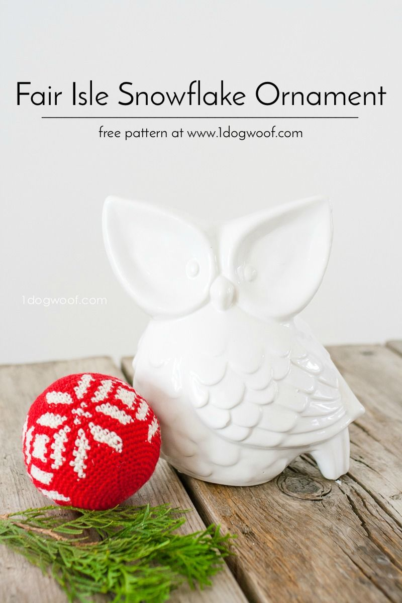 Fair Isle Snowflake Christmas Ornament, perfect to decorate your tree for Christmas! Free crochet pattern | 1dogwoof.com