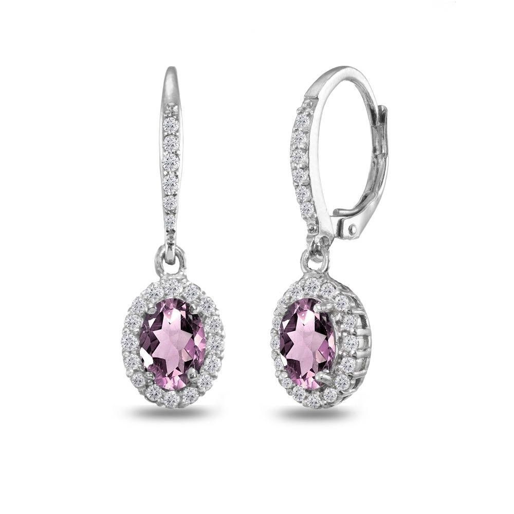 Jewelry Gift For Women Pink Amethyst Antiqued Sterling Silver Lever Back Earrings