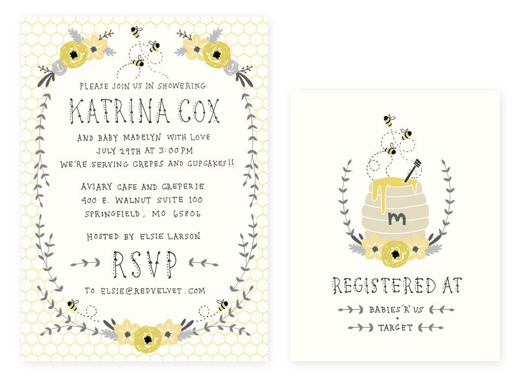 Baby Shower Invitation and Registry Card - Honey Bee. Baby Girl OR ...