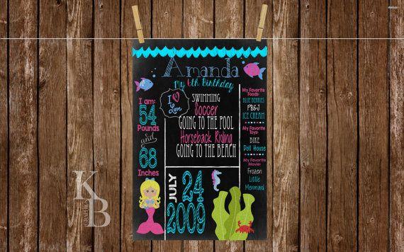 Mermaid Birthday Chalkboard/ Poster, Mermaid Birthday, Pool Party, Birthday Chalkboard, Birthday Poster
