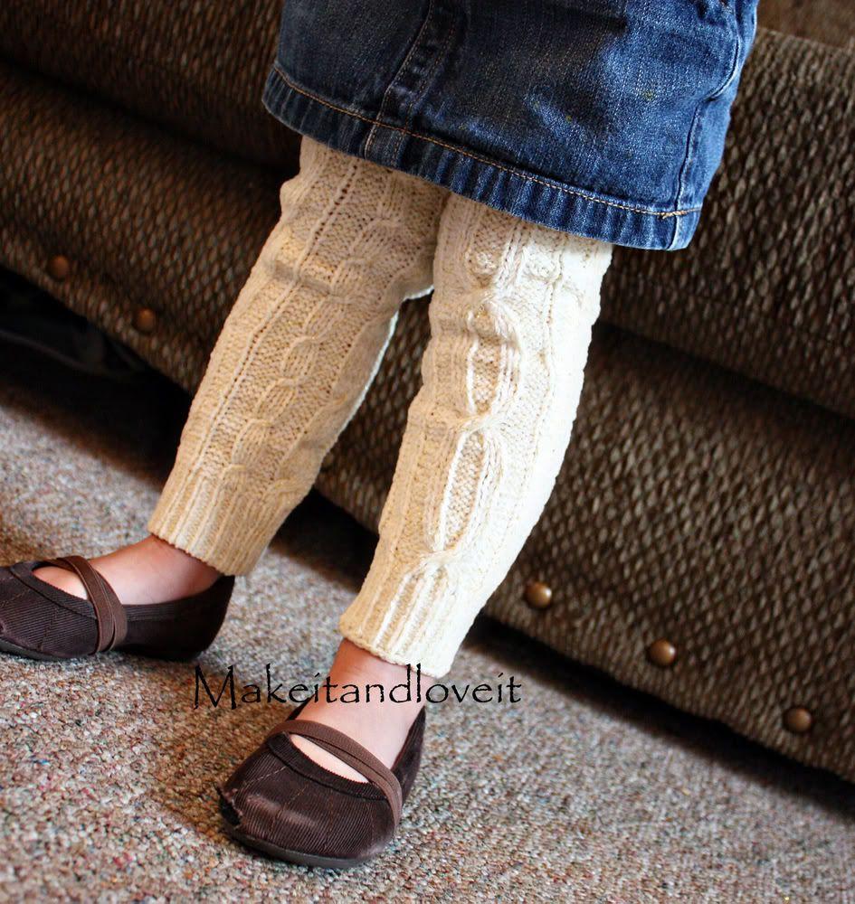 Repurposing a sweater into little girl leg warmers.