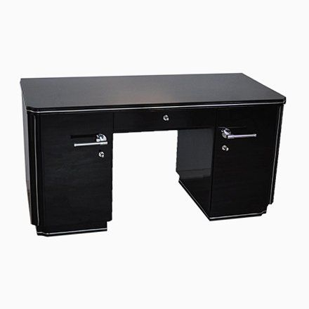 Vintage High Gloss Black Desk 1930s Black Gloss Desk Black
