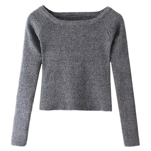 Skinny Susan Long Sleeve Cropped Off Shoulder Jumper-GRAY-One Size ($22) ❤ liked on Polyvore featuring tops, grey, long sleeve tops, gray crop top, grey crop top, gray top and off the shoulder long sleeve top