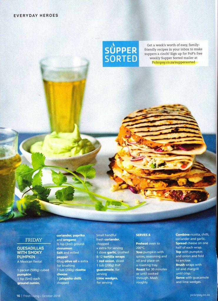 Quesadillas With Smoky Pumpkin Pick N Pay Fresh Living Recipe Recipes Family Supper Fresh Coriander