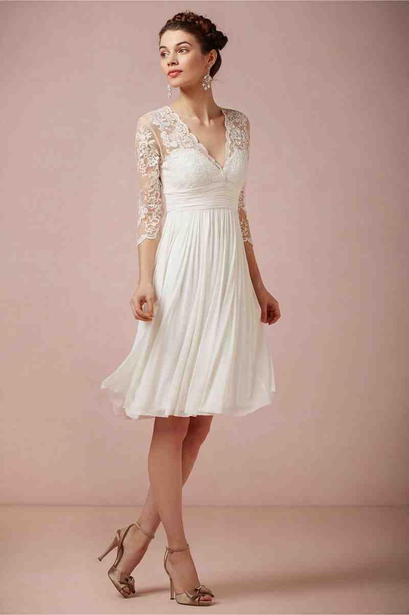 Short Winter Wedding Dresses With Sleeves Short Wedding Dress Wedding Dresses Little White Dresses [ 1201 x 800 Pixel ]