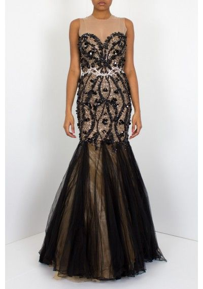 Jovani | 'Couture' Black | Jovani long sexy gown features intricate beading with a tulle skirt