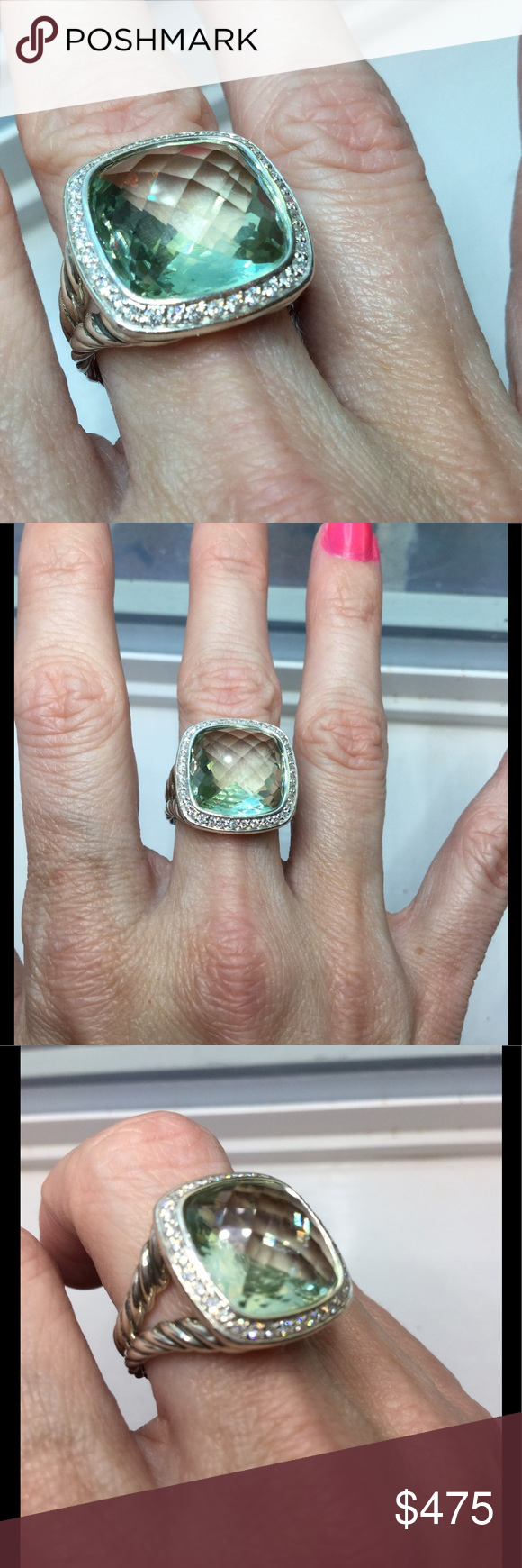 albion prasiolite ring this is an absolutely pristine authentic david yurman albion ring with largest stone size available 14mm itu0027s set in sterling