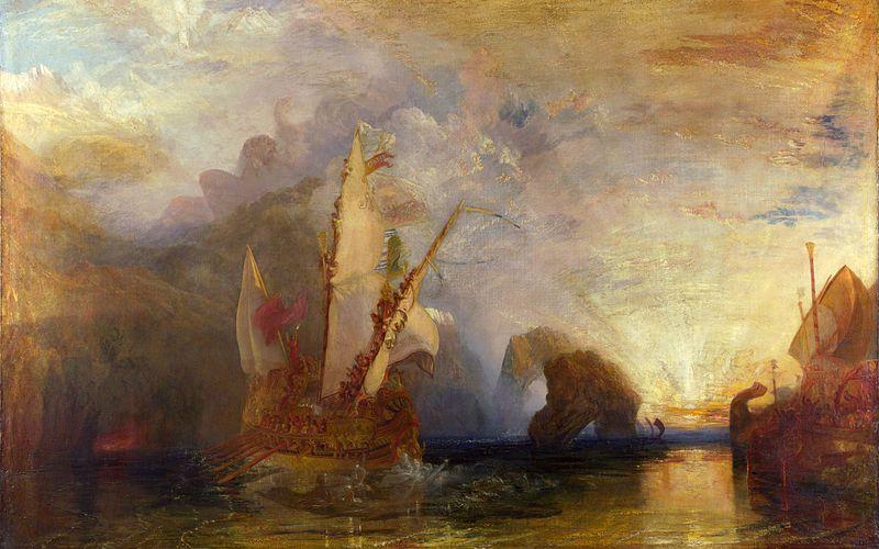 Ulisse schernisce Polifemo, olio su tela di 132,7x203,2 cm,1829- William Turner. Conservato nella National Gallery di Londra.