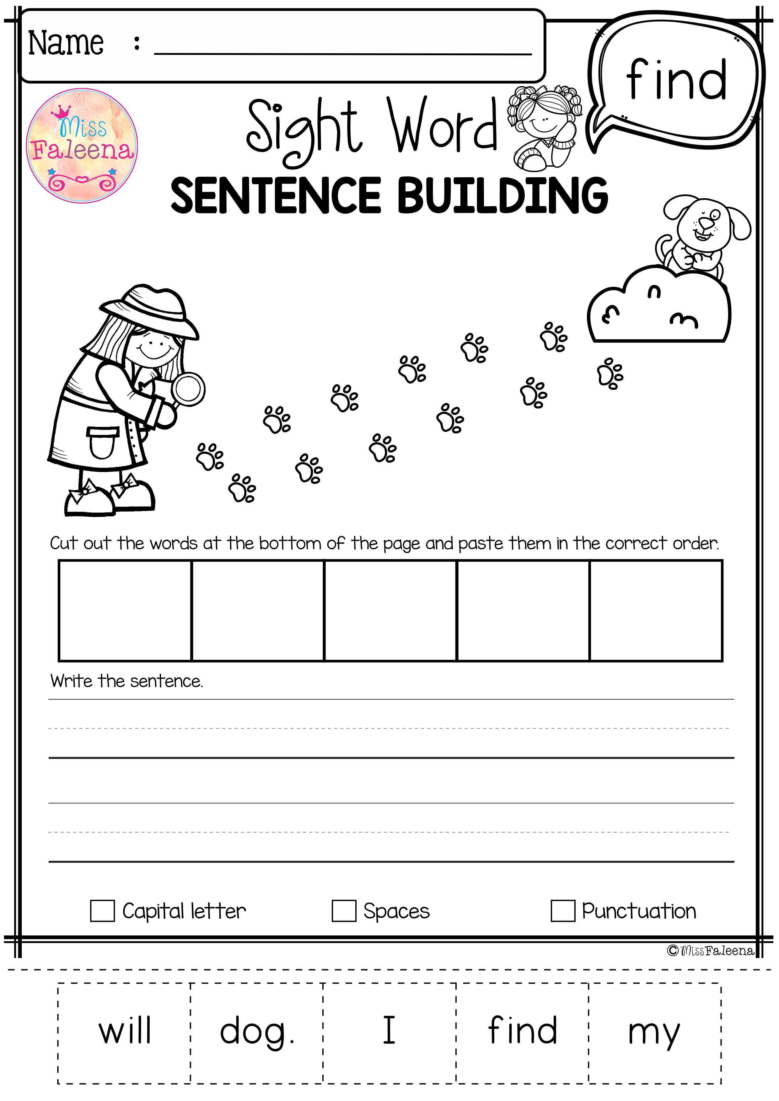 Sight Word Sentence Building Pre Primer Sight Word Sentences Sight Words Word Sentences