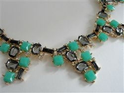 mint and silver jeweled collar