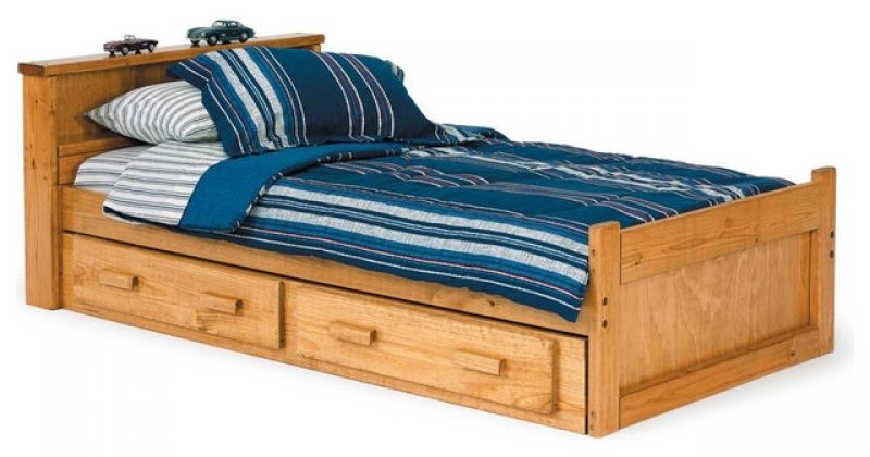 Chelsea Home Bookcase Twin Captains Bed With Under Bed Storage In