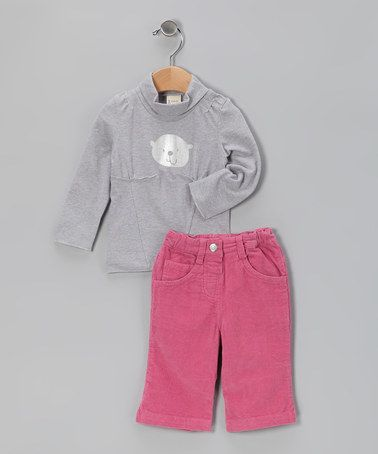 Take a look at this Gray & Pink Mock Neck Top & Pants - Infant, Toddler & Girls by Mikko Kids on #zulily today!
