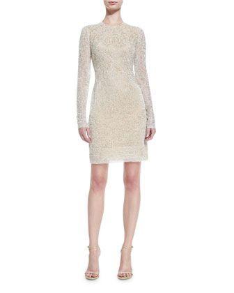 Beaded+Jewel-Neck+Long-Sleeve+Cocktail+Dress,+Ivory+by+Naeem+Khan+at+Neiman+Marcus.