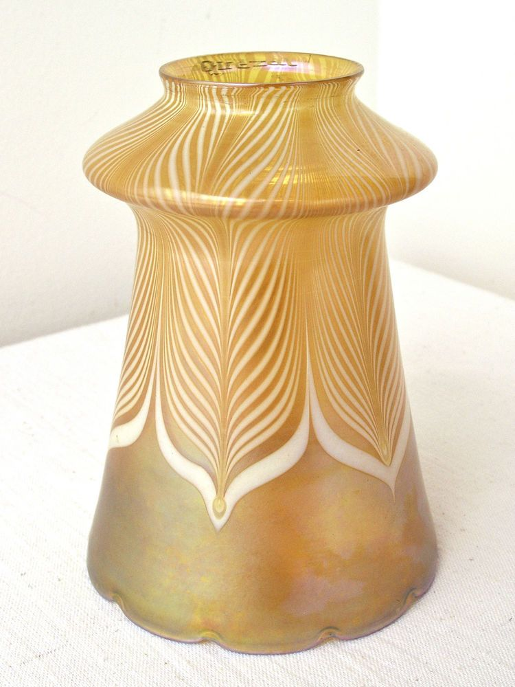 Vintage Quezal Pulled Feather Glass Lamp Shade With A Nice Gold Aurene Coloring The Bottom