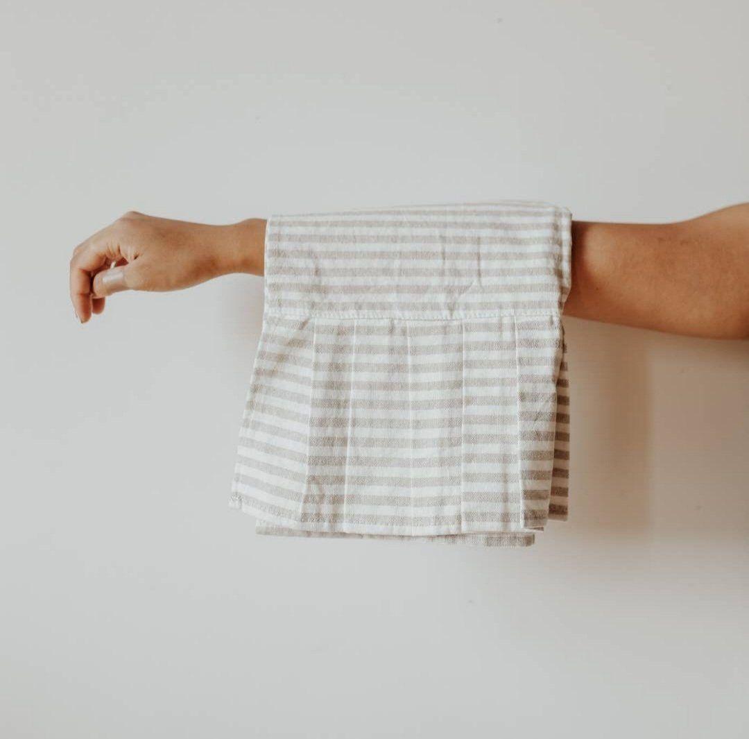 Striped Tea Towel with Ruffle - Tan & Cream