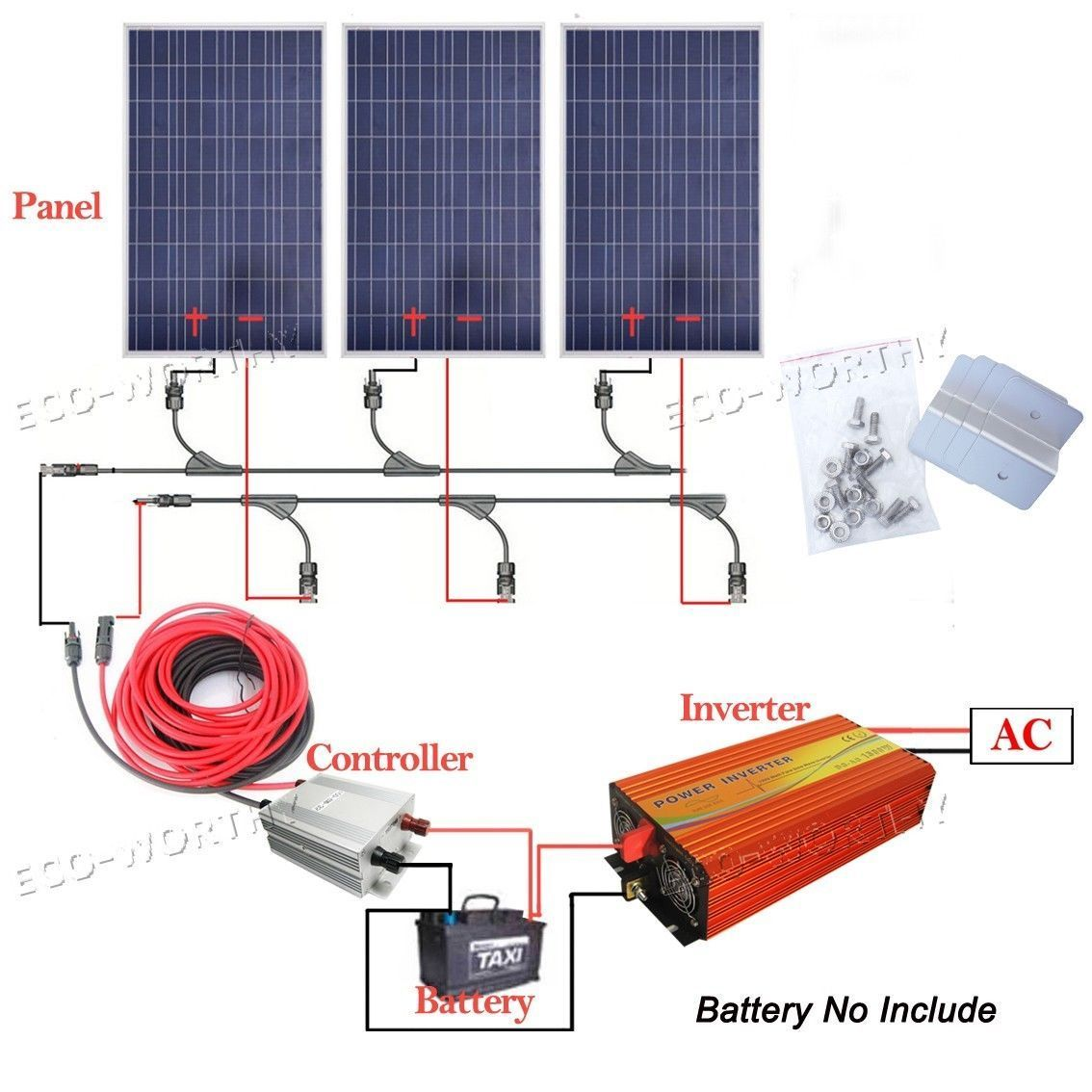 200w 300w 400w 800w Off Grid System 100w Solar Panel W 1kw 1500w Charger Further Power Also Street Light Circuit 3000w Inverter In Home Garden Improvement Electrical Ebay