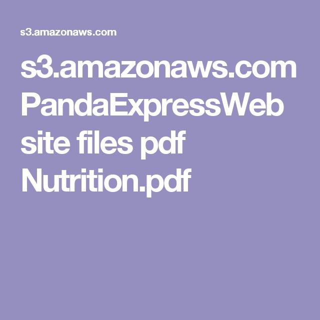 S3 Amazonaws Com Pandaexpresswebsite Files Pdf Nutrition Pdf Nutrition Information Nutrition Panda Express