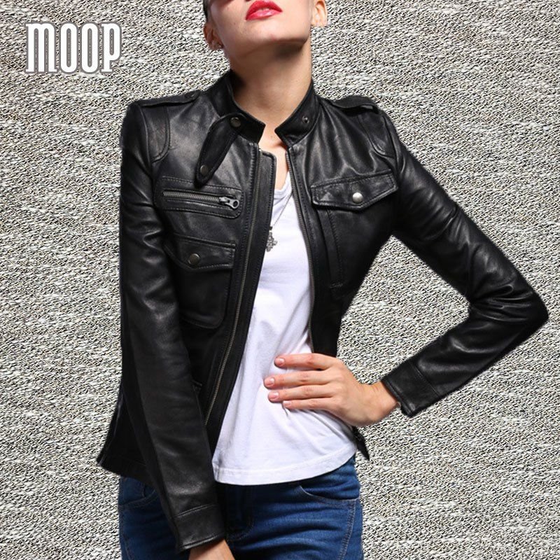 Cheap price US 137.55 Black genuine leather jackets women
