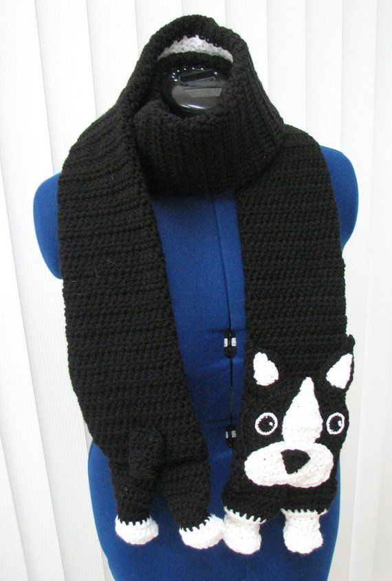 Boston Terrier - Scarf Crochet Pattern With Tutorials - Instant Download
