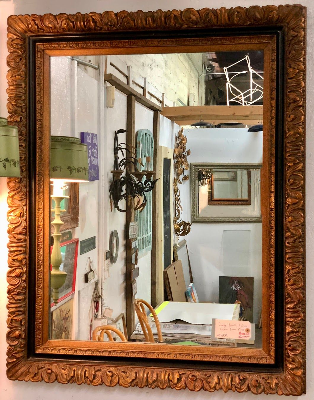 large black and gold wooden frame mirror on sale 40 wide x 50 high