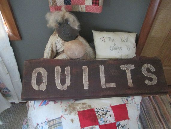 quilt wood sign | Primitive Quilt sign by TheScrappyDivas on Etsy, $16.00