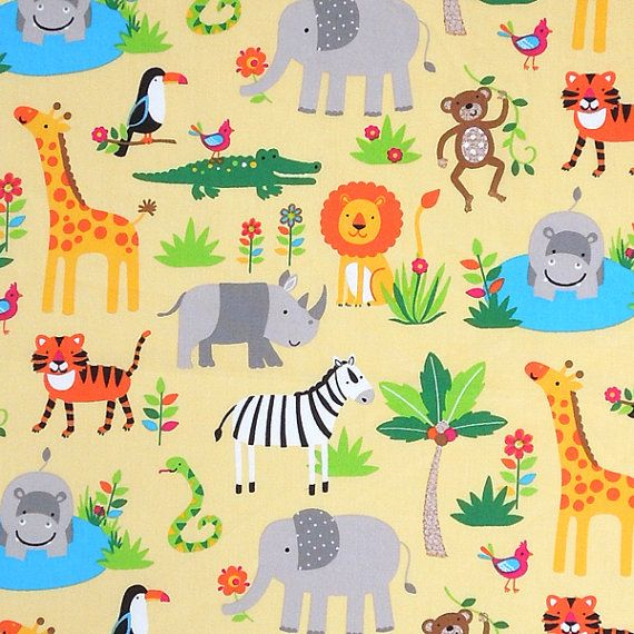 Baby yellow zoo animal cotton fabric kid 39 s by for Childrens jungle fabric