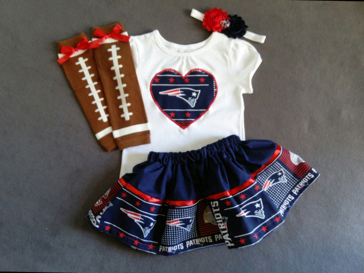 New England Patriots Inspired Baby Girl 4 Piece Outfit Skirt Shirt Headband Leg Warmers Baby Girl Clothes Patriotic Baby Clothes Girl Onesies