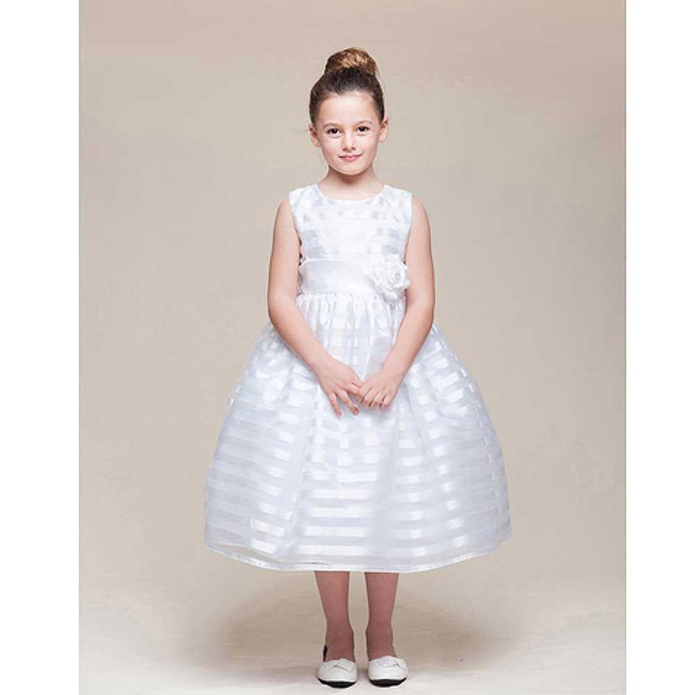 Crayon Kids White Stripe Tea Length Flower Girl Dress Girls 5-10