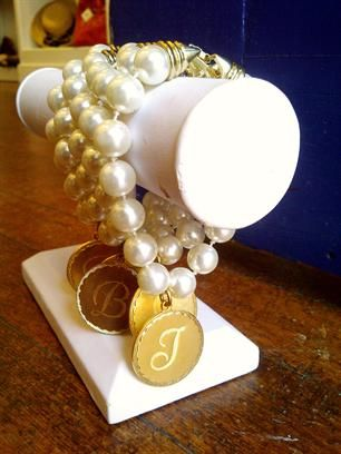 Pearl Bracelet With Gold Charm Engraved Monogram By Wimberly Jewelry