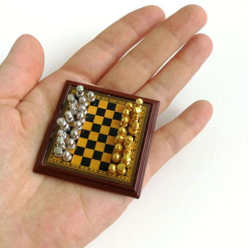 *SALE* Miniature 1:12 Scale Silver Jewelry or Game Box in Metal