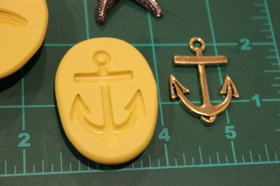 Set of 2 starfish and anchor silicone molds by WayBeyondCakes