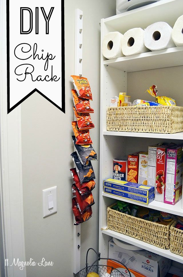 Diy 10 pantry chip rack hanging organizer snacks and for Cost to build a pantry