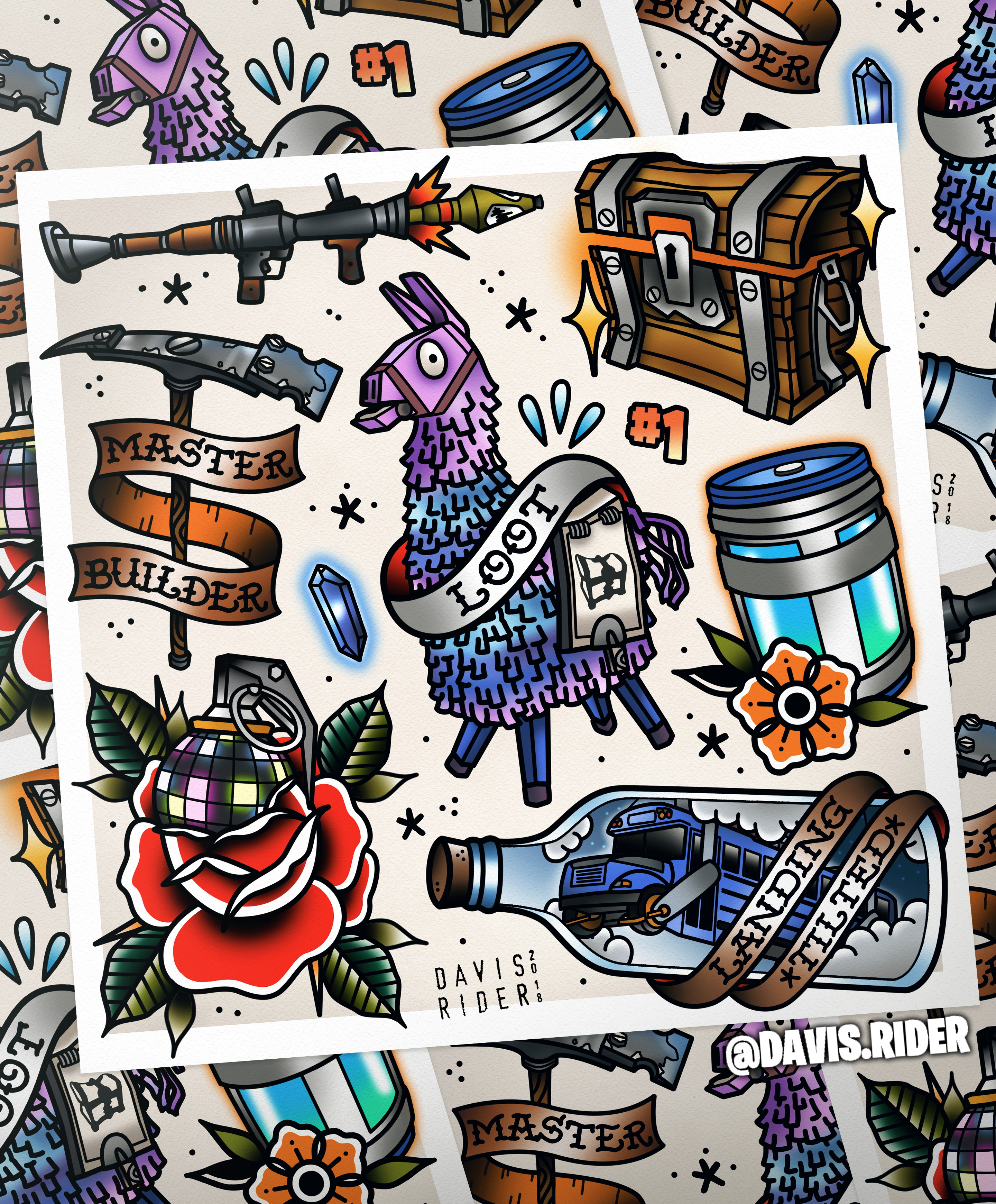 Fortnite tattoo flash sheet I made! Had a lot of fun with it. Hope you all  dig it!! 6a36c4632