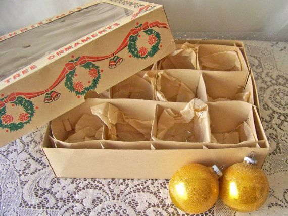 Vintage Christmas Ornament Storage Box Empty Ornament Box Original