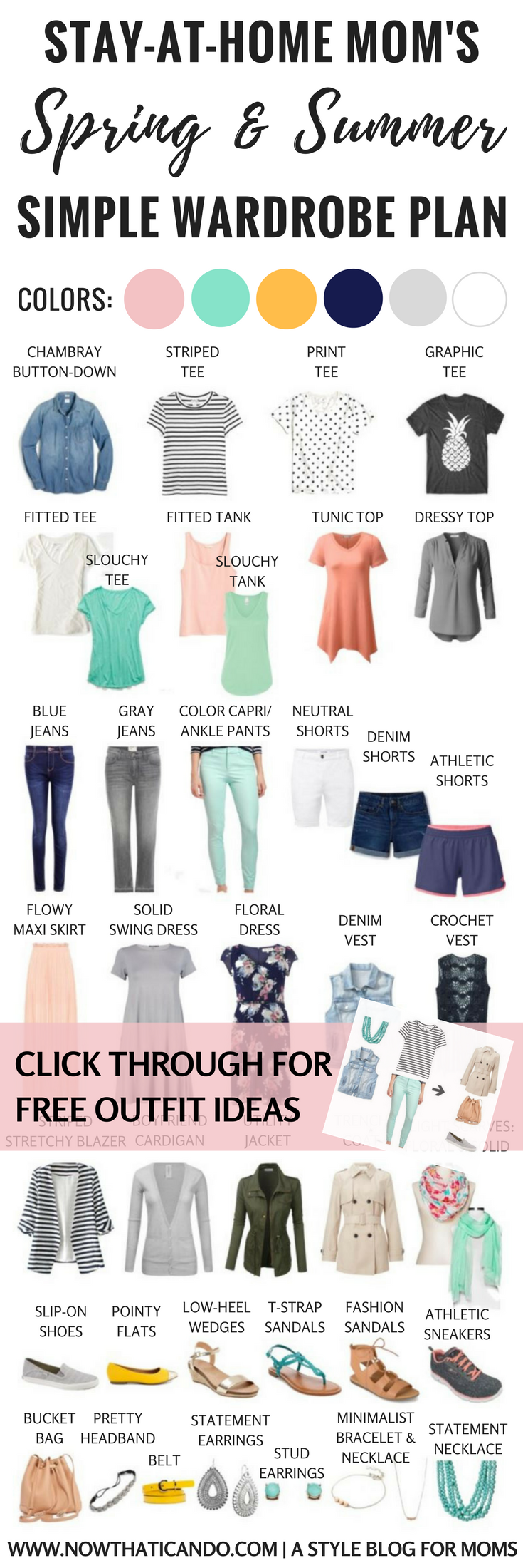 Basic Spring/Summer Capsule Wardrobe (86+ Outfits) for Stay-at-Home ...