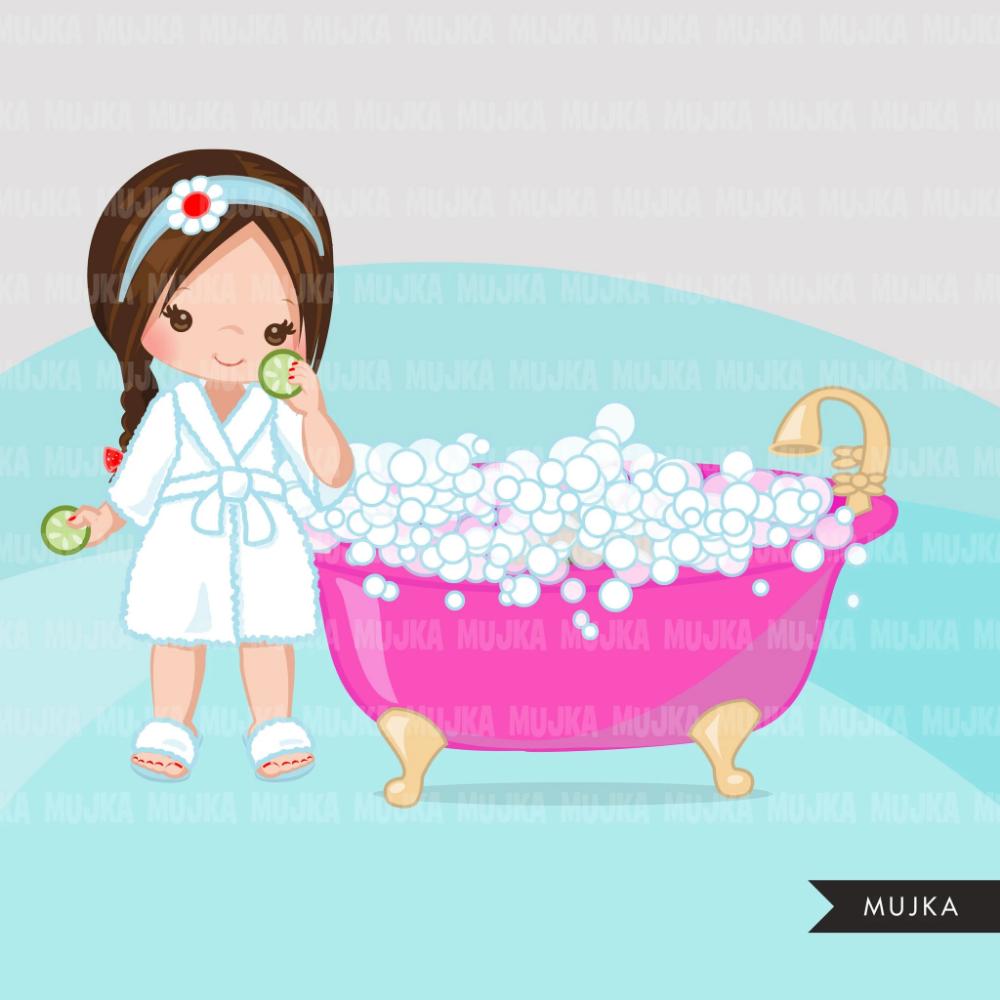 Spa Clipart Spa Elements Party Black Girl Graphics Bubble Bath Bathtub Nail Polish Spa Birthday Graphics Commercial Use Clip Art Bonecas Fofas Festa Spa